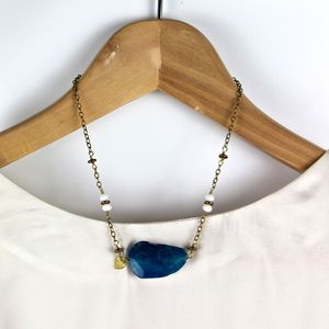 Blue Agate Slice And Leaf Necklace - women's jewellery