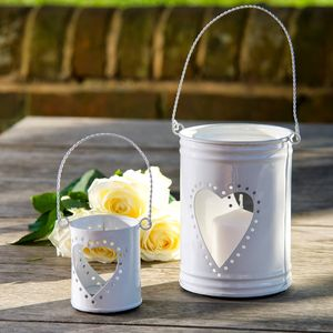Set Of Two White Heart Tea Light Holders - home accessories