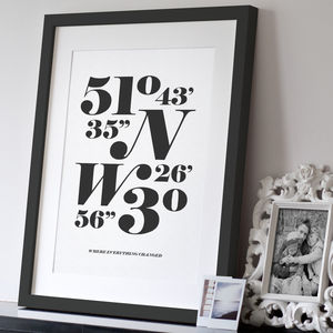 Personalised Monochrome Coordinates Print - gifts for couples