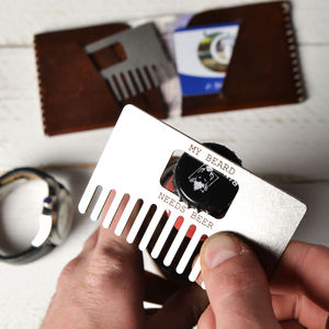 Beard Comb And Bottle Opener - 100 less ordinary gift ideas
