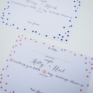50 Personalised Wedding Advice Cards Polka Dot Design