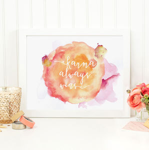 Karma Always Wins Watercolour Inspirational Print - posters & prints