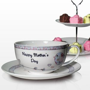 Mothers Day Floral Birds Personalised Teacup And Saucer - gifts for the home
