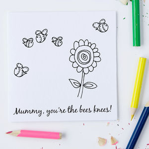 Colour In Bees Card With Personalisation Option
