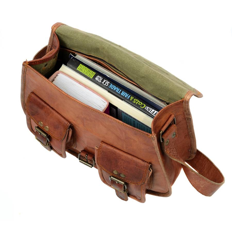 brown leather satchel style saddle bag by paper high ...
