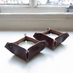 Handmade Brown Leather Tea Light Holders