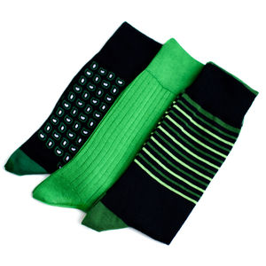 Men's Set Of Three Solid, Stripe And Paisley Socks