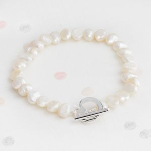Alice Personalised Pearl And Silver Heart Bracelet