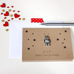 Beep Means I Love You Robot Card - father's day cards
