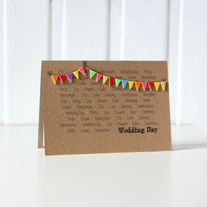 Bright Bunting Wedding Congratulations Card - wedding cards & wrap