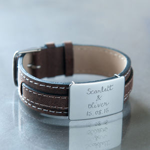 Boyfriend's Personalised Silver And Leather Bracelet