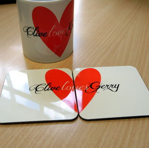 Love Heart Personalised Coasters - placemats & coasters