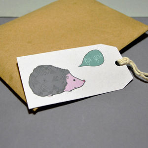Hedgehog 'For You' Gift Tag - ribbon & wrap