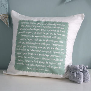 Personalised Baby Promise Cushion