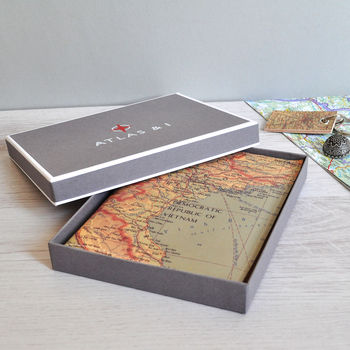 Personalised world map leather journal