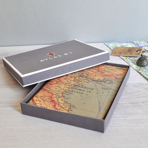 Personalised Map Leather Journal - 3rd anniversary: leather