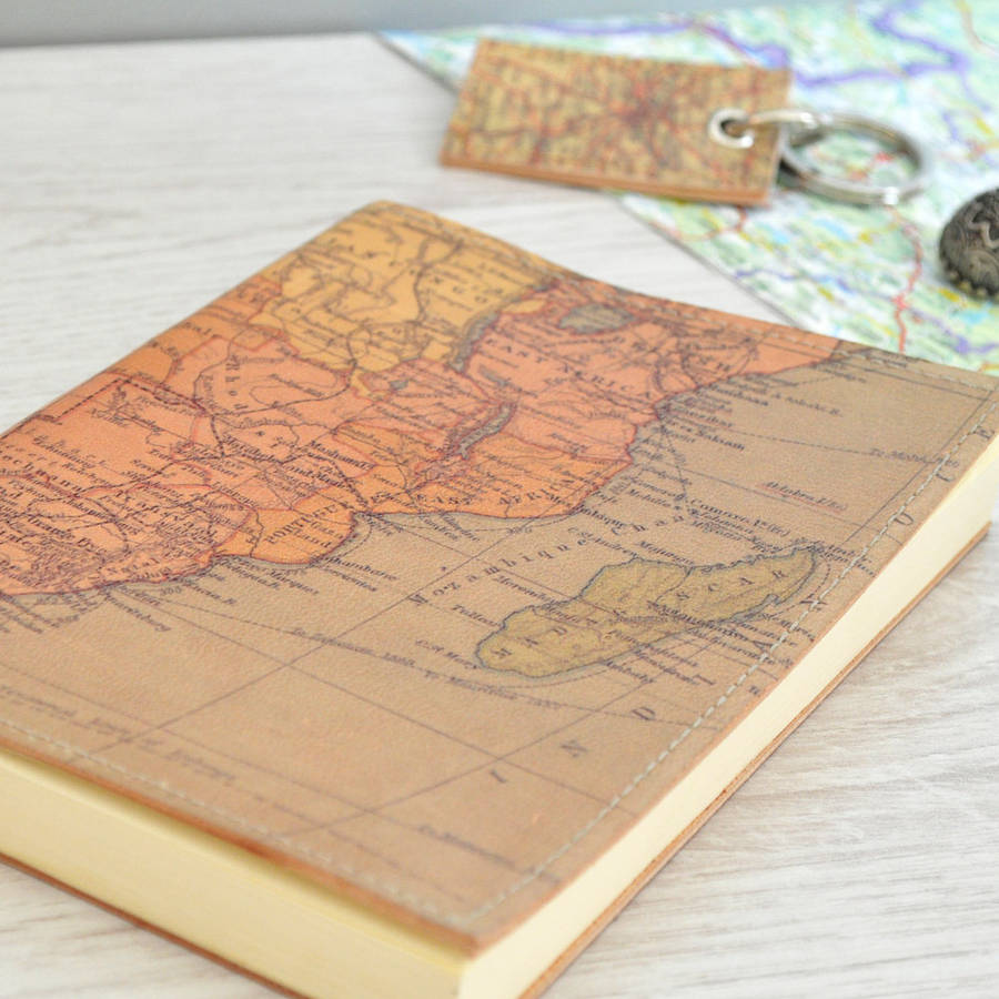 Personalised map leather journal by atlas i notonthehighstreet personalised world map leather journal africa map sciox Images