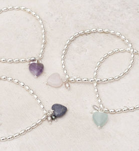 Honour Stone Heart Personalised Bracelet - for sisters