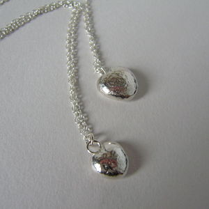 Mother And Daughter Solid Silver Heart Necklaces