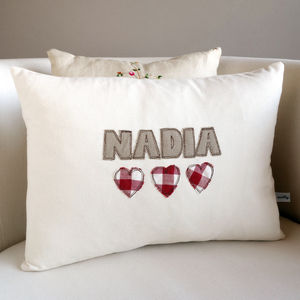 Personalised Embroidered Name Cushion - bedroom