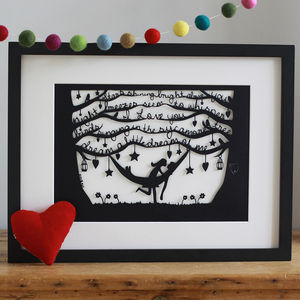 Romantic Hammock Papercut Or Print - for your other half