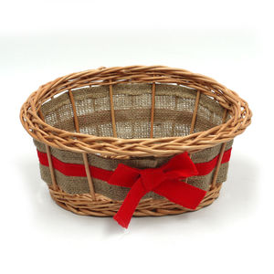 Empty Wicker Gift Basket Ribbon - living room