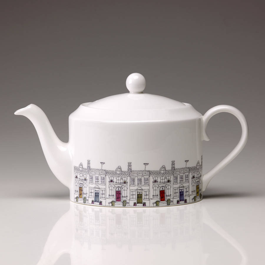 Large Street Scene China Teapot By Lindsey Busby Designs