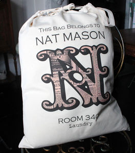 Personalised Vintage Monogram Bag - bedroom