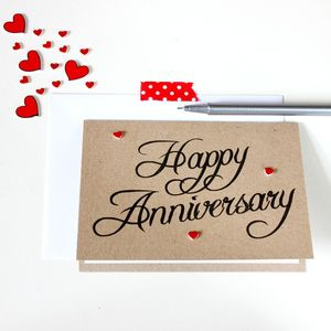Personalised 'Happy Anniversary' Love Heart Card