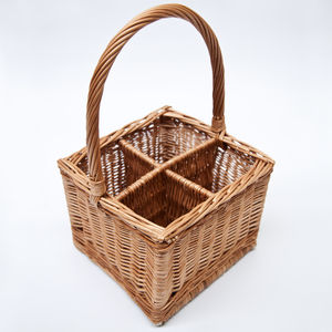 Wicker Bottle Carrier Basket