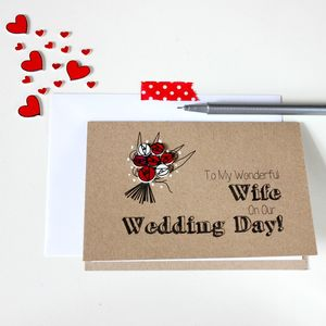 'To My Wonderful Wife' Wedding Day Card - valentine's cards