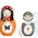 Personalised Russian Doll Family Print Example (Landscape)