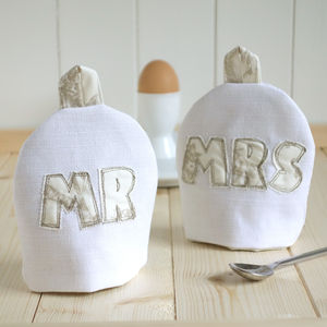 Personalised Mr And Mrs Egg Cosies - personalised