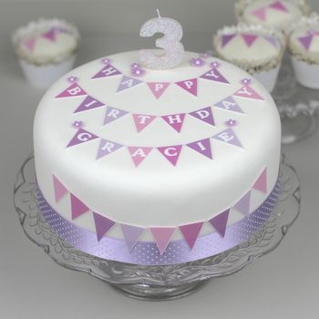 Personalised Bunting Birthday Cake Decorating Kit
