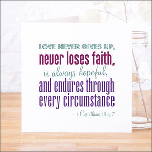'Love Never Gives Up' Contemporary Bible Verse Card