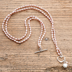 Double Strand Rice Pearl Necklace And Silver Heart