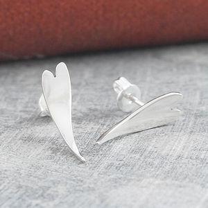 Curved Heart Sterling Silver Stud Earrings - earrings