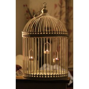 Cream Birdcage Tealight Candle Lantern