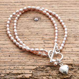 Double Strand Rice Pearl Bracelet And Silver Heart - bracelets & bangles