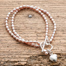 Double Strand Rice Pearl Bracelet And Silver Heart