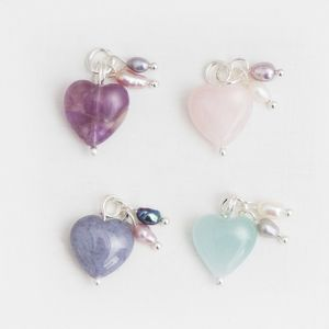 Semi Precious Stone Heart Charm - jewellery sale