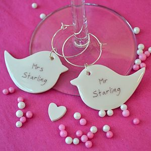 Personalised Lovebird Glass Charms