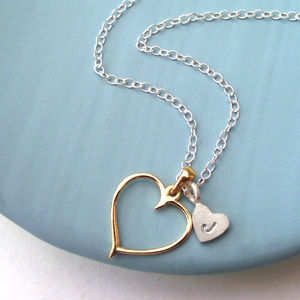 Golden Heart With Initial Necklace