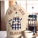 personalised mr and mrs cafetiere cosy, blue trimmed