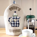 personalised embroidered coffee cosy, blue trimmed