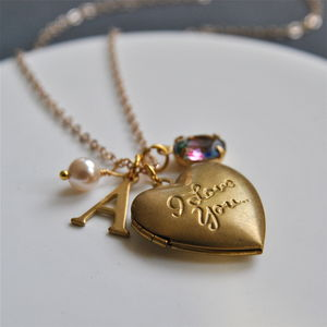 Personalised I Love You Heart Locket Charm Necklace - gifts for her