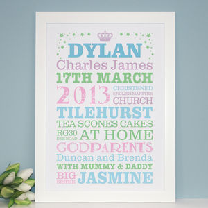 Personalised Christening Word Art Print - picture frames for children