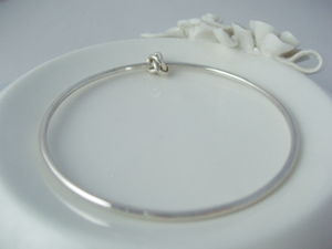 Eternity Knot Bangle With Silver Knot - bridal bracelets