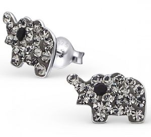 Crystal Elephant Earrings In Sterling Silver - summer sale