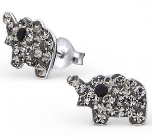 Crystal Elephant Earrings In Sterling Silver